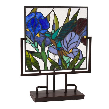 Lighted Stained Glass Hummingbird and Iris Panel Iris Stained Glass