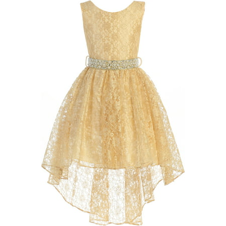 Ankle Length Dresses For Girls (Little Girl Sleeveless Floral Lace Tulle Knee Length Pageant Flower Girl Dress Flower Girl Dress (J3744K) Gold)