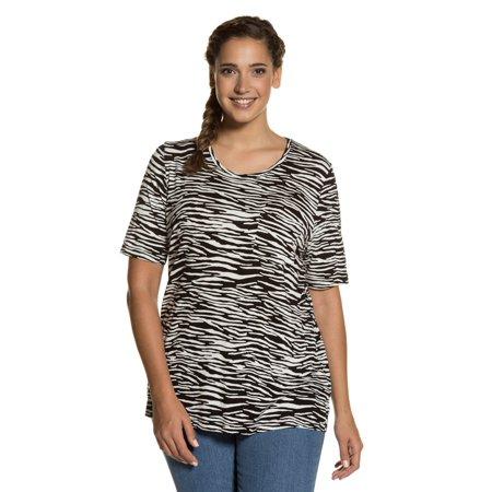 51caf7f198f Ulla Popken - Ulla Popken Women s Plus Size Zebra Print Round Neck ...