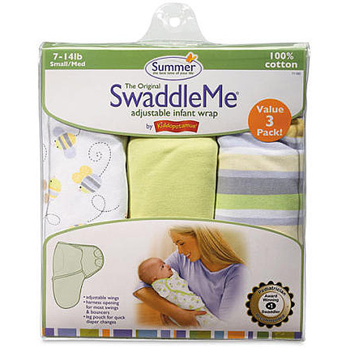 Summer Infant 3 Count Swaddleme Blanket, Busy Bees Multi-Colored