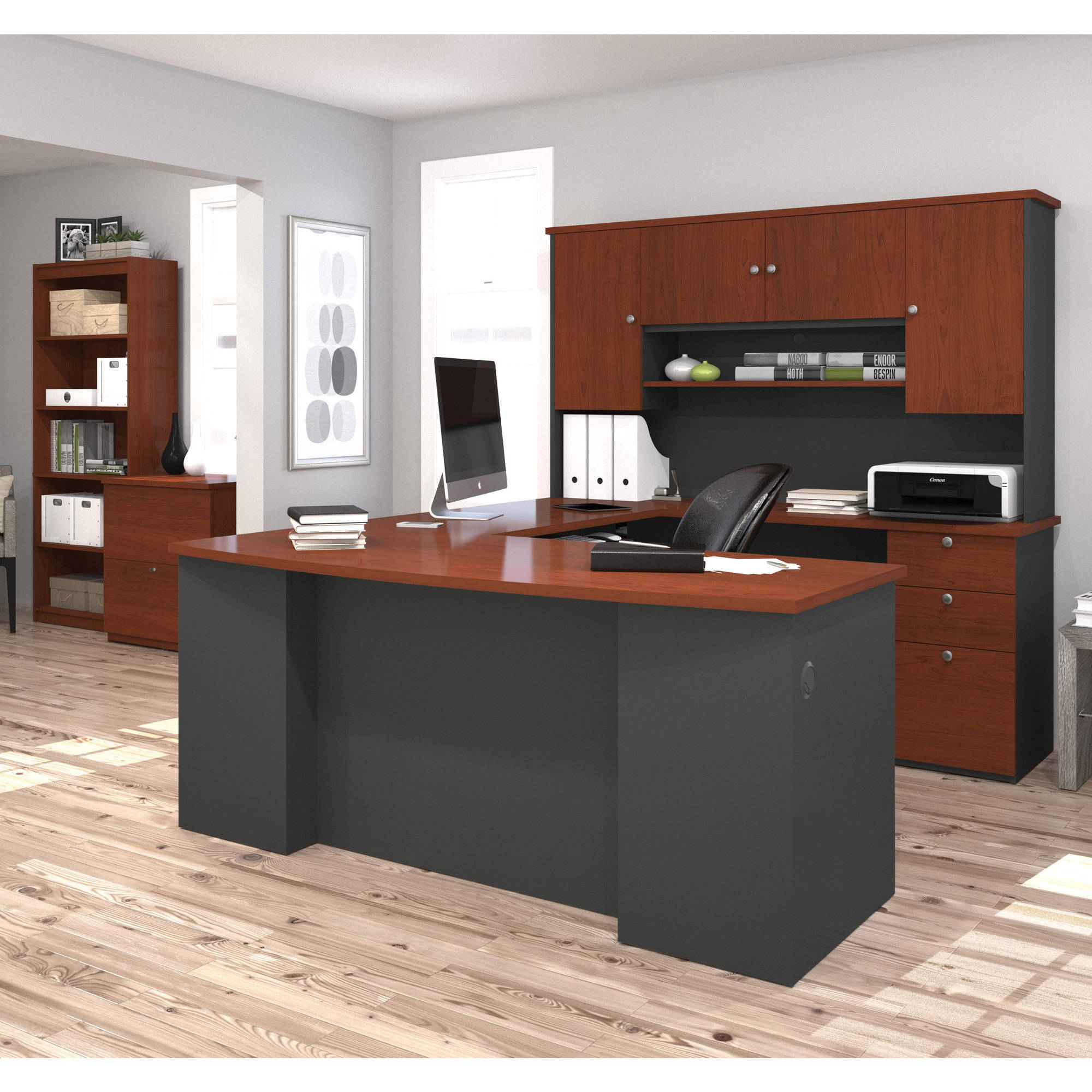 Bestar Manhattan U-shaped Workstation with Lateral File and Bookcase, Bordeaux & Graphite