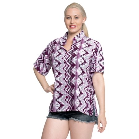 Relaxed Fit Short Sleeve Shorts (Hawaiian Shirt Button Down Blouses Relaxed Fit Women Short Sleeves Camp Pink )