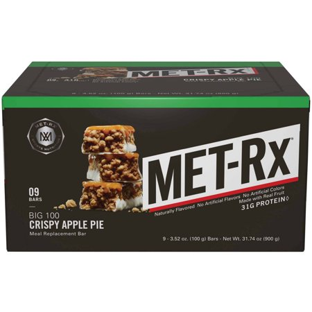 Met Rx Big 100 Colossal Crispy Apple Pie Meal Replacement Bars  3 52 Oz  9 Count