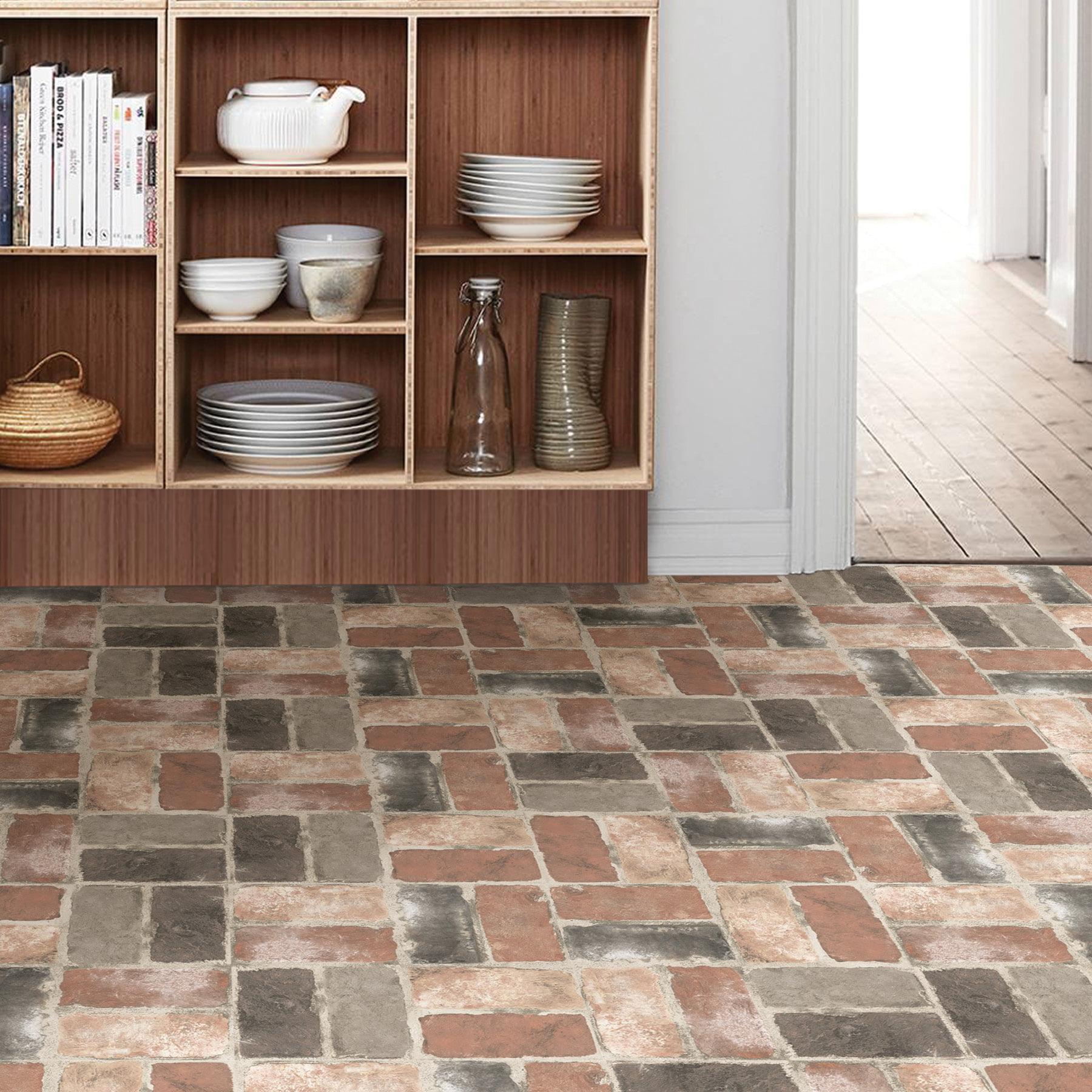 Floorpops Harvard Brick Red 12 In X 12 In Peel And Stick Virgin Vinyl Floor Tiles 10 Pack Walmart Com Walmart Com