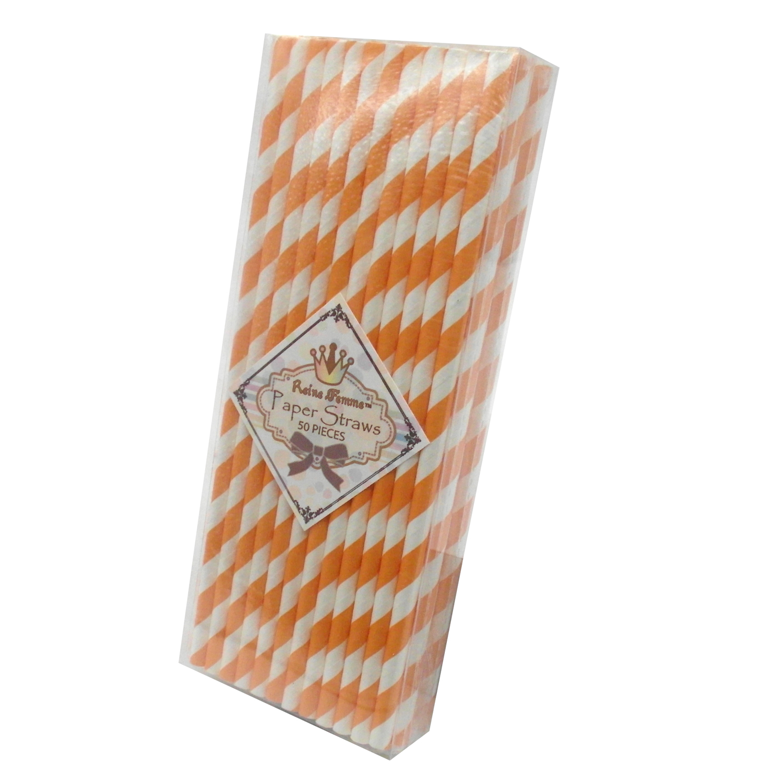 TrendBox 1 Box(50pcs) Reine Femme(TM) Strip Paper Straws For Drinking Birthday Wedding Baby Shower Party Celebration - Fushia