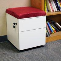 CASL Brands Rolling 2-drawer WheeledMobile Pedestal Storage Cabinet - Red