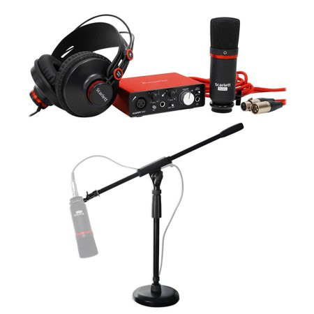 - Focusrite Podcasting Podcast Recording Bundle w/Microphone+Headphones+Stand