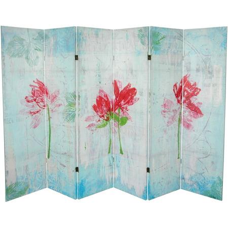 Spring Divider (5 1/4' Spring Morning Canvas Room Divider 6 Panel)
