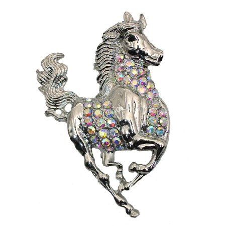 Gorgeous Ab Crystal Running Horse Pin Brooch D254