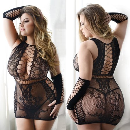 Body Stocking Mesh Fishnet Sexy Mini Dress Style Teddy Plus Queen Size Lingerie