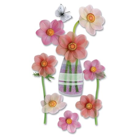 Jolees Boutique Epoxy (Boutique Vellum Layered Dimensional Stickers, Pink Flowers, Soft delicate layered look By)