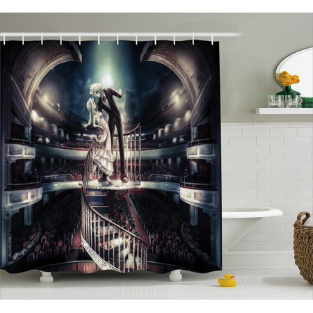 Anime Shower Curtain Performing Love Scene In Theater Vintage Style Anese Manga Artwork Print