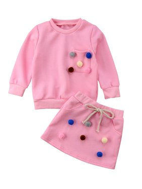 Fashion Toddler Baby Girls Sweatshirt Hoodie+Skirts 2PCS Outfits Spring Clothes