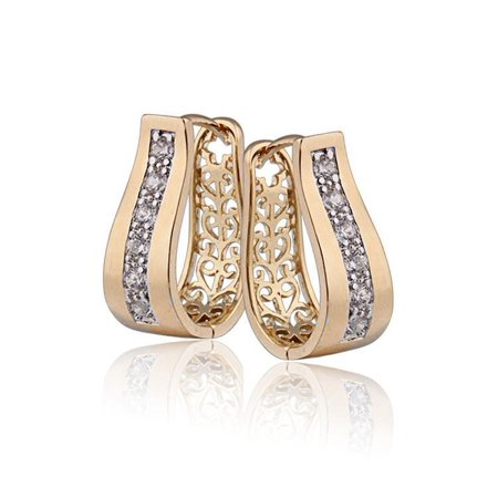 ON SALE - 2 in 1 18k Gold P With Crystal Diamonds Filigree Hoop Earrings - 18k Triangle Earrings