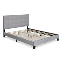Furinno Laval Button Tufted Bed Frame, 12PC Slat Style, Glacier, Queen
