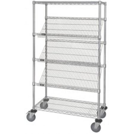 Mobile Chrome Wire Shelving Slanted Shelf Unit