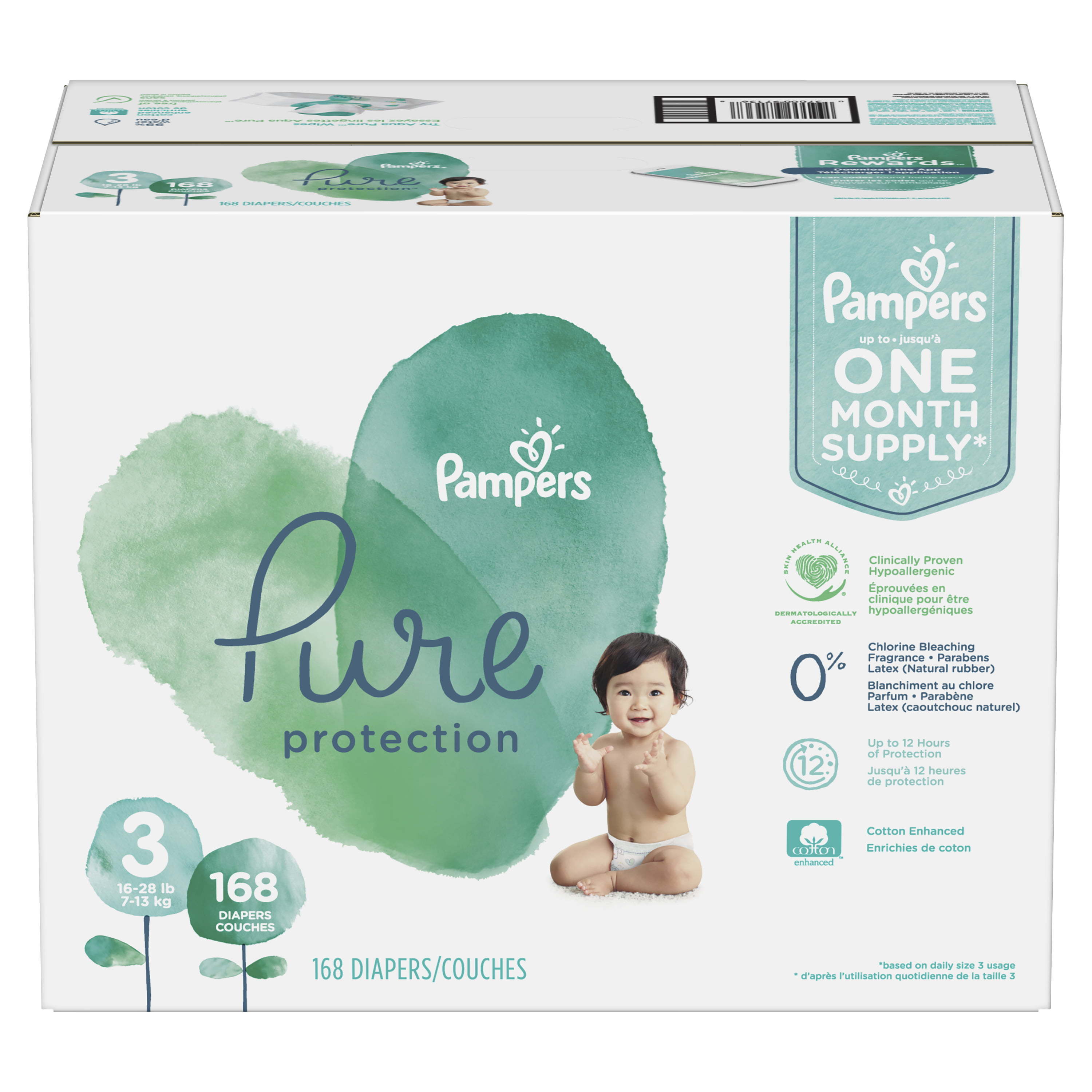 22-37lbs Baby Wipes Pampers Pure Protection Disposable Diapers Size 4