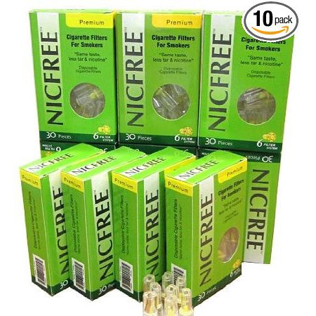 NICFREE DISPOSABLE CIGARETTE FILTERS - 10 PACKS - 300 FILTERS - CUT THE (Best Disposable Cigarette Filters)
