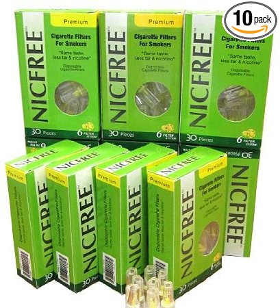 NICFREE DISPOSABLE CIGARETTE FILTERS - 10 PACKS - 300 FILTERS - CUT THE TAR