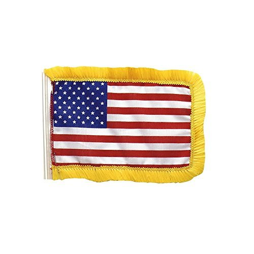 Red White Blue - US American Antenna Flag with Gold Borders