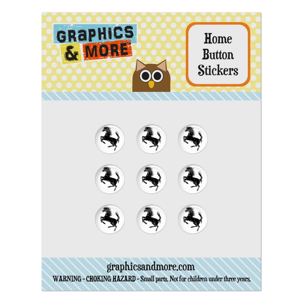 Horse Rearing Up on White Home Button Stickers Set Fit Apple iPhone iPad iPod Touch