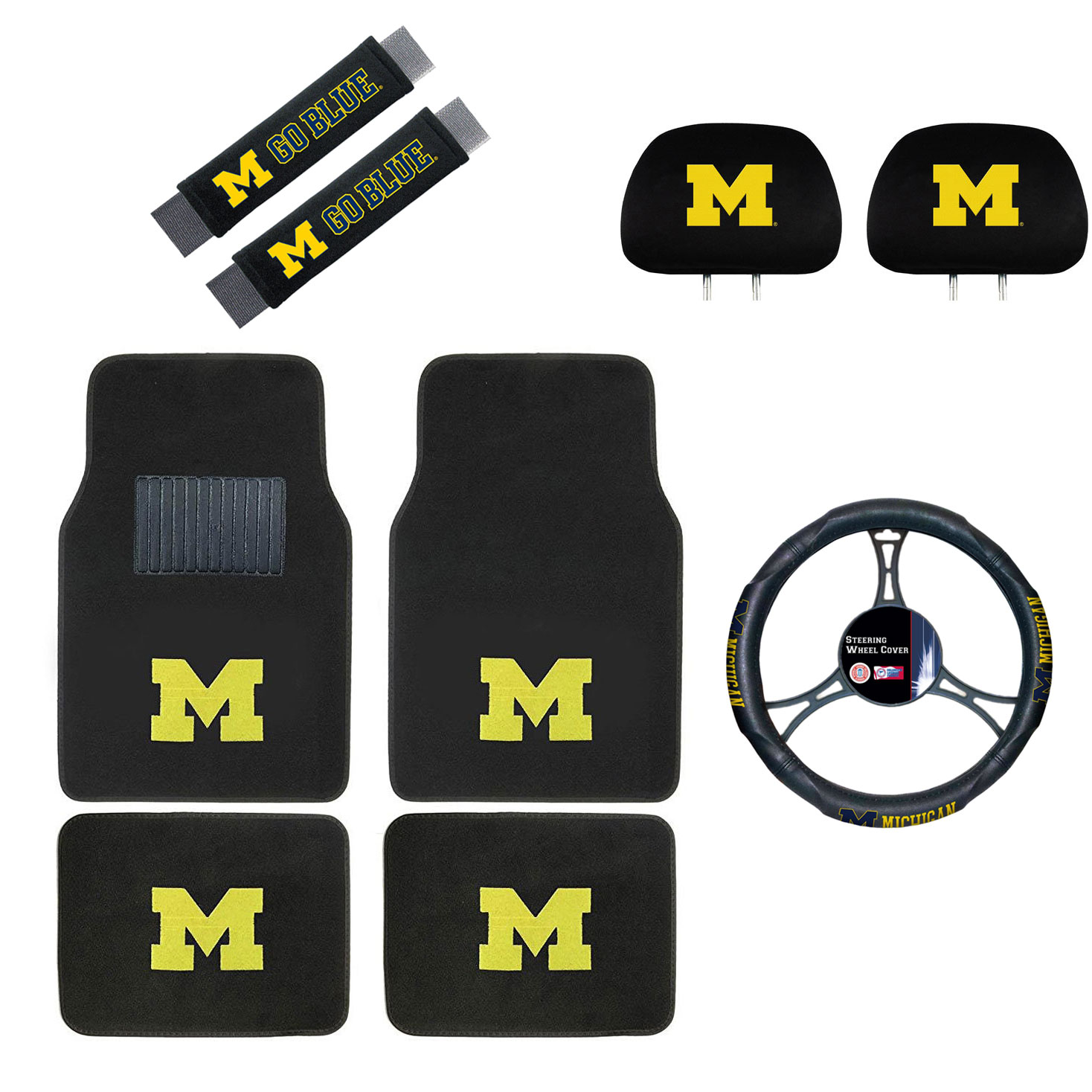 Michigan Wolverines Floor Mat, Headrest Wheel Cover and Shoulder Pads Gift Set