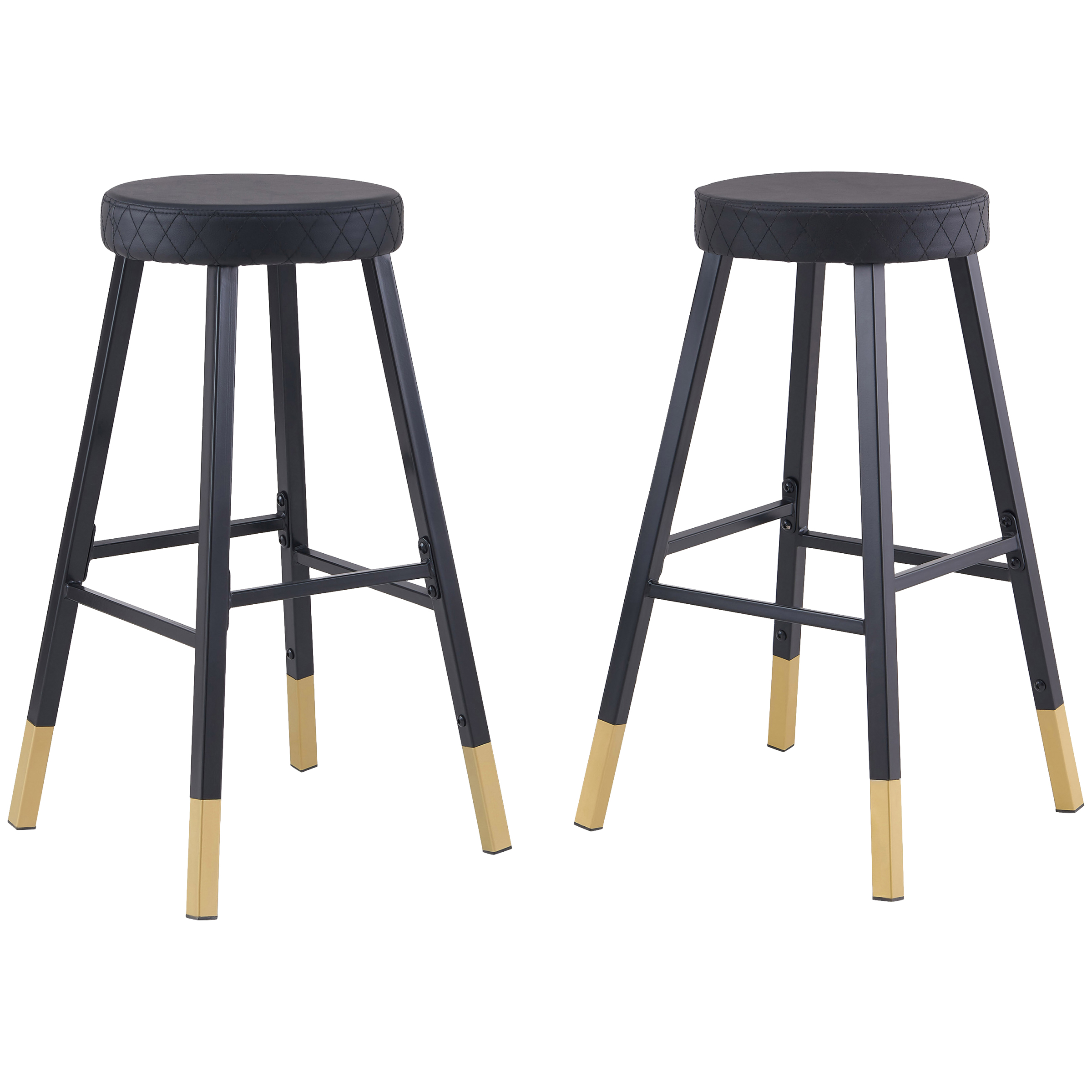 2 Pack Mainstays Metal Dipped Leg Backless Bar Stools (Black and Gold)