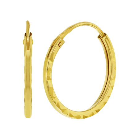 14k Yellow Gold Small Endless Thin Hoop Earrings for Girls 0.47""