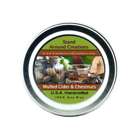 MULLED CIDER & CHESTNUTS TIN 2-OZ. ALL NATURAL SOY CANDLE