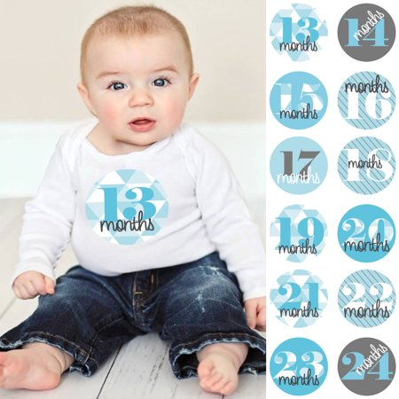 Bay Shower Ideas (Geometric Blue & Gray - Baby Boy Second Year Monthly Sticker Set - Baby Shower Gift Ideas - 13 - 24 Months)