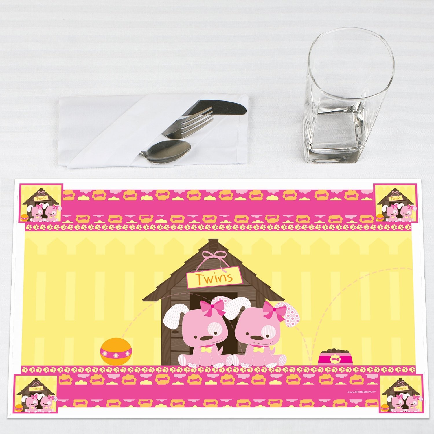 Twin Girl Puppy Dogs Party Placemats Set of 12 by Big Dot of Happiness, LLC