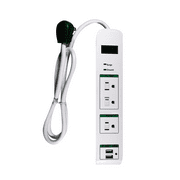 GoGreen Power GG-13103USB 3 Outlet Surge Protector With USB Ports, 3' cord, White