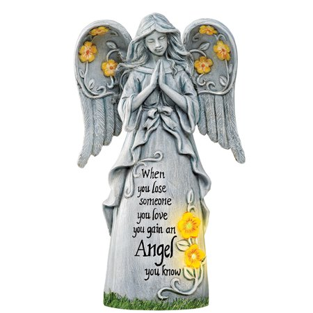 Collections Etc. Solar Powered Angel Memorial Statue for Home Garden, Stone Look, When You Loose Someone you Love, You Gain an Angel You Know