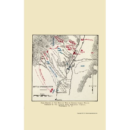 Old War Map Buena Vista Mexico Battle Map 1892 23 X 36 49