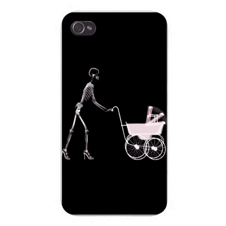 Apple Iphone Custom Case 4 4s Plastic Snap on - X-Ray Skeleton Mother Pushing - Plastic Skeleton