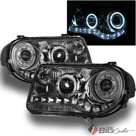 300c Halo Led Projector Headlights - For 2005-2010 300C Smoked Halo Projector Headlights w/ Daytime Running LED Strip Pair Left+Right/2006 2007 2008 2009