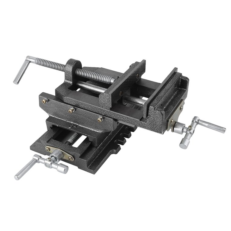 6 Inch Cross Clamp Cross-Shaped Vise Tiger Caliper Bench Drill Press Clamp,grey