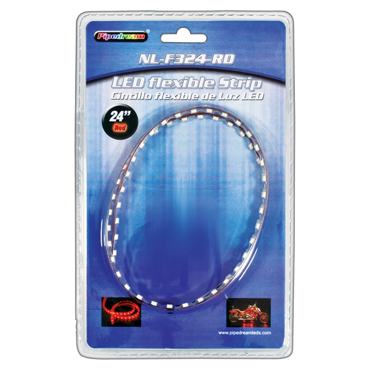 "PIPEDREAM 24"" HIGH INTENSITY FLEXIBLE LED STRIP CUT EVER 3 LED'S RED-NLF324RD"