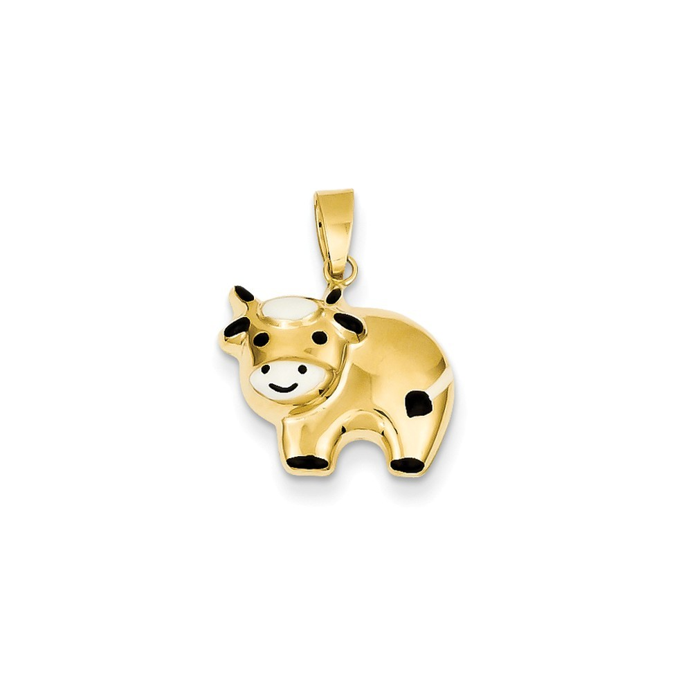 Measures 17x15mm 14k Yellow Gold Hollow Polished Enameled Cow Charm