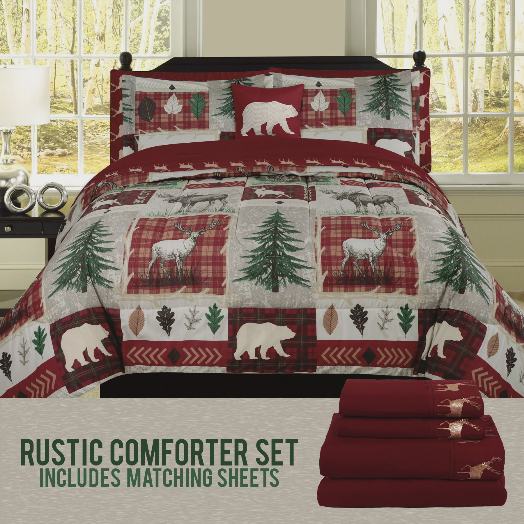Bear Lodge Elk Rustic Queen Comforter 8 Piece Bedding And Deer Sheet Set Cabin Hunting Bed In A Bag Walmart Com Walmart Com