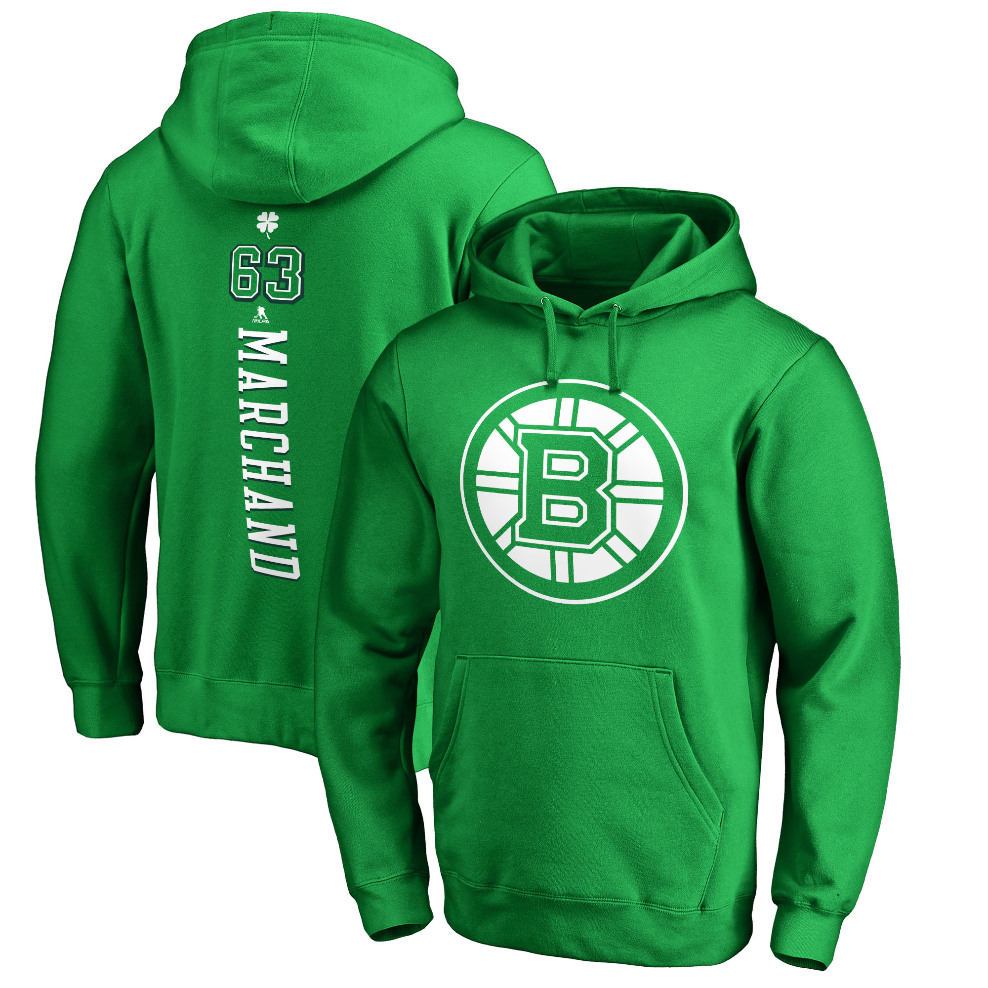 Brad Marchand Boston Bruins Fanatics Branded St. Patrick's Day Backer NHL Hoodie - Kelly Green