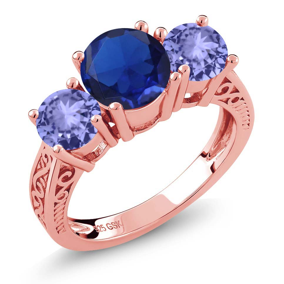 2.59 Ct Blue Simulated Sapphire Tanzanite 18K Rose Gold Plated Silver 3-Stone Ring