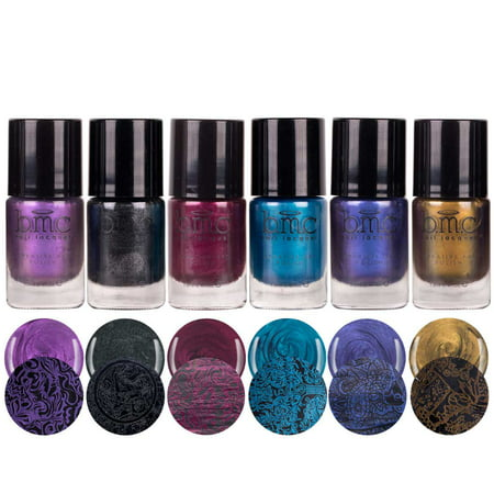 BMC Grimm's Nightfall Metallic, Shimmery, Dark Duochrome Halloween Fall Fashion Highly-Pigmented Creative Nail Art Stamping Polish Full Collection - Various Colors - Easy Halloween Cat Nail Art