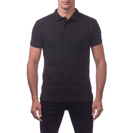 Block Pique (Pro Club Men's Pique Polo Cotton Short Sleeve Shirt, Small, Black )