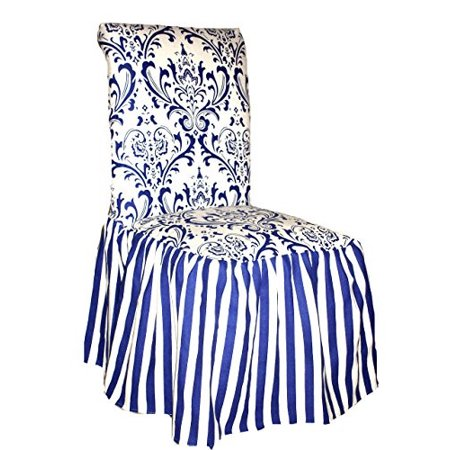Classic Slipcovers CSI Damask Ruffled Dining Chair Cover, Blue Stripe