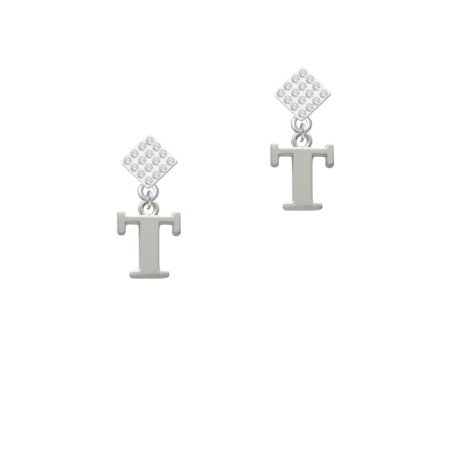 Large Greek Letter Tau White Clear Crystal Diamond Shape