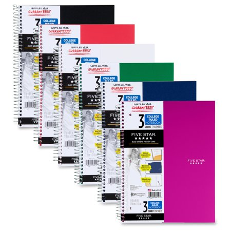 Five Star Wirebound 3 Subject Notebook  College Rule  11   X 8 1 2    Assorted  150 Sheets