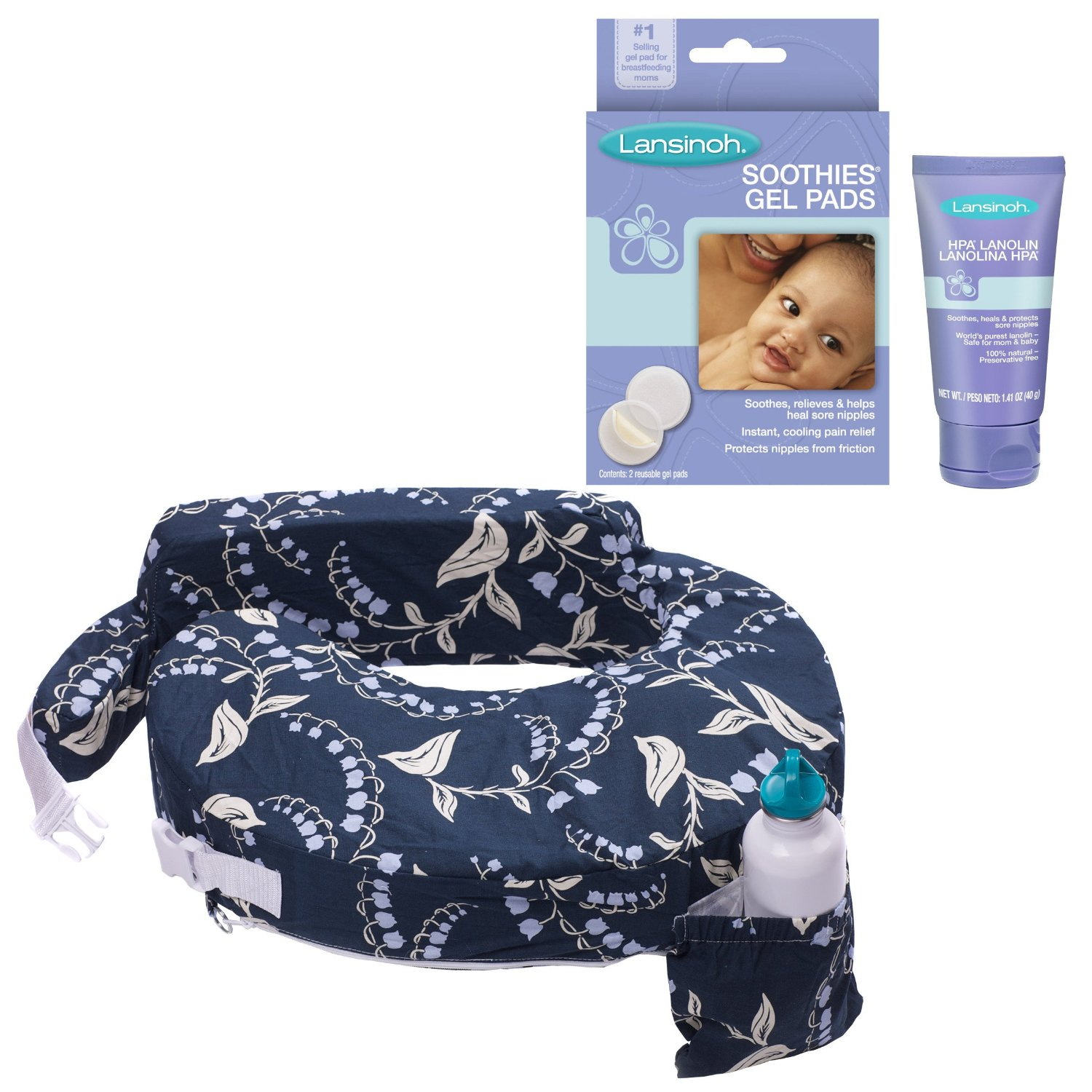 My Brest Friend Original Nursing Pillow with HPA Lanolin & Soothie Gel Pads, Blue Bells by My Brest Friend