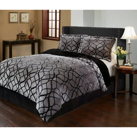 Matrix Velvet Plush Print Bedding Comforter Mini Set