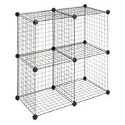"Whitmor Storage Cubes - Stackable Interlocking Wire Shelves - Set of 4 - Black - 14.25"" x 14.5"" x 14.5"""